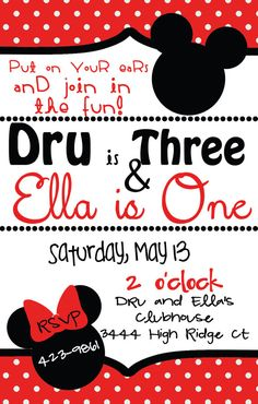 Mickey and Minnie Joint Birthday Party Invitation NO SHIPPING REQUIRED on Etsy, $14.54 CAD
