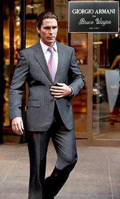 "Giorgio Armani's bespoke suit ala ""Bruce Wayne""."
