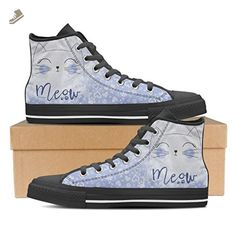 Meow Cat- Womens High Top Canvas Sneakers in Black Womens High Top - Black - Baby Blue / US11 EU42 - Vaisb sneakers for women (*Amazon Partner-Link)