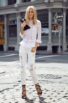 street style summer all white looks