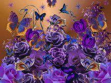 borboletas e rosas roxas