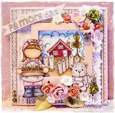 Kattiz Scrapp - Is this scene not the cutest you have ever seen?  The girl is a Hanglar stamp - all the rest are Magnolia stamps...