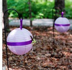 I love purple!   Purple ribbon on white lanterns @Megan McCracken @Donna Welch