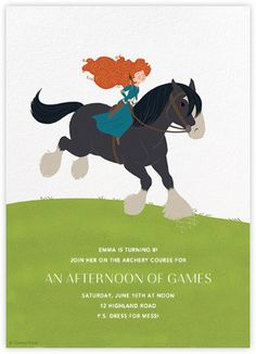 """Merida and Angus"" by Paperless Post. Online Brave invitations for kids' birthdays with easy-to-use design tools and RSVP tracking. View other Disney invitations on paperlesspost.com/disney."