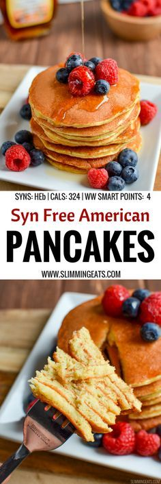 delicious, Fluffy Syn Free American Style Pancakes that you will ever make. A perfect breakfast or dessert. Gluten Free, Vegetarian, Slimming World and Weight Watchers friendly Slimming World Pancakes, Slimming World Puddings, Slimming World Cake, Slimming World Treats, Slimming World Recipes Syn Free, Slimming Eats, Slimming World Breakfasts Free, Slimming Word, Slimming World Biscuits
