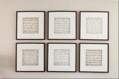 If you have old handwritten letters from family members you can enlarge them on a copier and have them framed