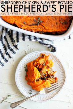 Cozy up with this Shredded Chicken + Sweet Potato Shepherd's Pie! It's the perfect quick and easy gluten free dinner that is packed with flavor! thetoastedpinenut.com #thetoastedpinenut #shepherdspie #chicken #chickendinner
