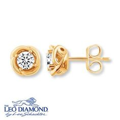 Curves Of Yellow Gold Add An Elegant Twist To These Stud Earrings From The Leo Diamond