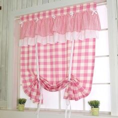 Pink Check Tie Up Balloon Curtain. shabby chic curtain.