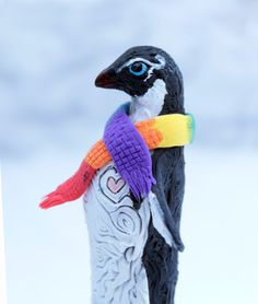 Penguin totem, rainbow scarf, LGBT gifts, winter Valentine's gay lesbian art love, pride, handmade. $70.00, via Etsy.