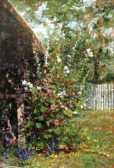 """Robert Moore """"Hollyhocks""""  Aggressive use of palette knife while keeping the masses interesting and dynamic."""