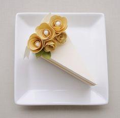 Paper Cake Slice Favor by imeondesign #wedding #favor