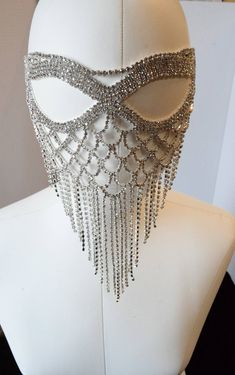 Silver Rhinestone Masquerade Face Mask Sparkling Face Mask Mardi Gras maskWedding mask New Years Eve - Naza-Brightness - New Years Nail Face Jewellery, Body Jewelry, Mardi Gras, New Year's Nails, Fashion Mask, Diva Fashion, Silver Rhinestone, Black Ribbon, Woman Face