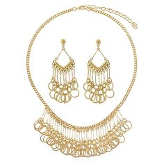 This 2-piece statement jewelry set flaunts linked circles and sophisticated details for an unexpected festive feel. Made of gold-tone brass. Necklace measures 17.5 inch with 3 inch extension in length with 1.5 inch in drop and secures with lobster claw clasp. Earrings measure 2.5 inch in length, 1 inch in width. Posts with butterfly back closures.