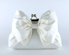 EllenVintage Silk Bow Clutch in Ivory or White by ellenVintage, $78.00