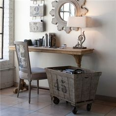 Aidan Gray Decor Lavandrie Cart - I really love this cart and the file boxes on the wall