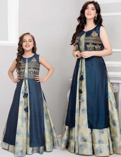 Festive mother daughter blue anarkali suit with jacket Frocks For Girls, Girls Dresses, Party Dresses, Mom Daughter Matching Dresses, Mother Daughter Fashion, Mother Daughters, Girl Dress Patterns, Frock Patterns, Kids Gown
