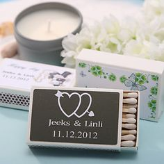 Personalized Matchboxes - Double Hearts With Arrow (Set of 12) – USD $ 6.99