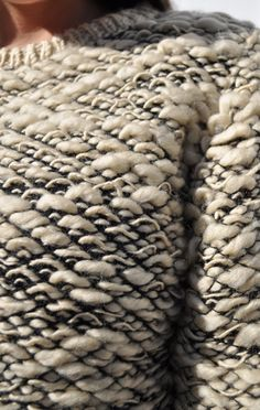 Woven sweater with two tone textures; weaving; textiles for fashion; close up fashion detail // Kieley Kimmel