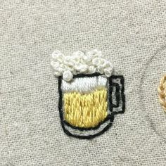 It& beer in the summer. I& bring some snacks next - Embroidery On Clothes, Shirt Embroidery, Embroidered Clothes, Hand Embroidery Patterns, Embroidery Kits, Floral Embroidery, Cross Stitch Embroidery, Broderie Simple, Diy Broderie