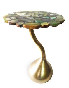 Agate table top , brass foot  CRAVT original new collection
