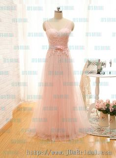 Soft airy pink colored strappy deep v back tulle prom dress