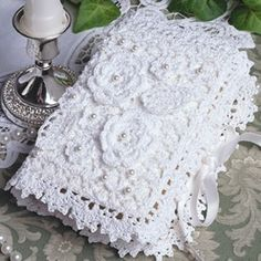 Crochet bible cover pattern from Leisure Arts. Find it here: http://www.leisurearts.com/products/brides-bible-cover-thread-crochet-pattern-digital-download.html