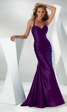 Elegant Halter V Neck Ruched Strapless Long Purple Mermaid Prom Dress