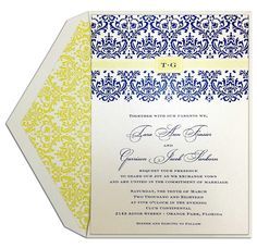 Damask Dream #Wedding #Invitation