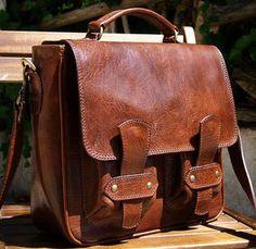 Leather messenger bag - LOVE