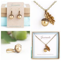 The purchase of this holiday jewelry gift set includes one oak leaf and acorn…