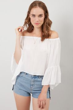 Off-the-shoulder blouse with bell sleeves