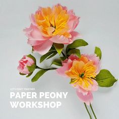 Diy zinnias flower from printer paper free template so simple were now counting fingers to the first leg of the peony workshop this october mightylinksfo