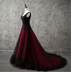 Details about New Red/Black Gothic Wedding Dress A Line Pageant Dresses Prom Evening Ball Gown New Red / Black Gothic Brautkleid A Line Pageant Kleider Prom Evening Ball Gown Colored Wedding Gowns, Wedding Dress Types, Black Wedding Dresses, Gown Wedding, Chic Wedding, Lace Wedding, Wedding Ideas, Wedding Dress Low Back, Perfect Wedding Dress
