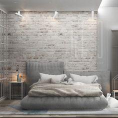 Brick Wallpaper Bedroom, Brick Wall Bedroom, Accent Wall Bedroom, Living Room Decor Cozy, Living Room Interior, Home Bedroom, Bedroom Decor, Foyer Decorating, Minimalist Home