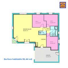 Plan maison trecobat maison de plain pied pinterest for Plan maison 6 chambres