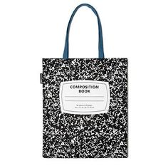 Out Of Print Composition Notebook Authentic Canvas Tote Bag - Black