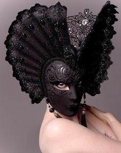 The juxtaposition of the black mask with the pale skin of the model makes for a striking image. The mask is a classic Venetian carnival mask invoking both the night and Venice's marriage to the sea. Photography by Natasha Epperson of the Illustrated Eye. Gothic Mask, Madame Pompadour, Costume Venitien, Carnival Masks, Carnival Venice, Venetian Masks, Beautiful Mask, Black Mask, Masquerade Ball