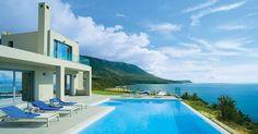Villa Trapezaki Bay View in Trapezaki, Kefalonia Private Pool, Countryside, Beach House, Minimalism, Greece, Villa, Ocean, Mansions, Architecture