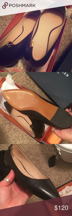 Black Tory Burch Flats Trendy pointed toe flats have been worn once. Flats are too big for me. Comes with box and bag. Super cute. Size 7 Tory Burch Shoes Flats & Loafers