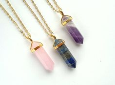 Gold Crystal Point Pendant Necklace Rose Quartz by SinusFinnicus