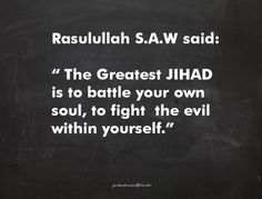 Fight the evil within yourself...