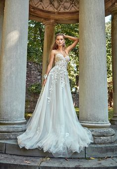 Elegant A-Line Wedding Dress with Scattered Lace