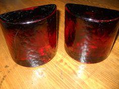 Mid Century Modern Eames Era Amber Blenko Art Glass Half Moon Bookends by…