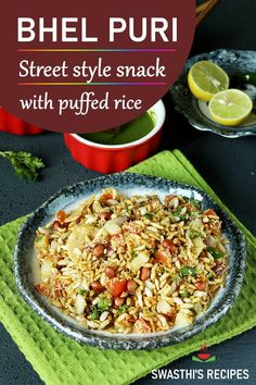 Bhel puri is a popular street style Indian snack made with puffed rice sweet tangy chutney crunchy toasted peanuts and many crispies. Puri Recipes, Veggie Recipes, Healthy Dinner Recipes, Beef Recipes, Vegetarian Recipes, Cooking Recipes, Andhra Recipes, Veggie Food, Cooking Tips