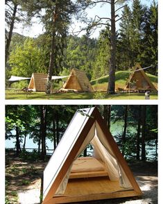 Nice design for glamping. Tiny Cabins, Tiny House Cabin, Tiny House Design, Cabin Homes, A Frame Cabin, A Frame House, Casas Containers, Cabin In The Woods, Shed Plans