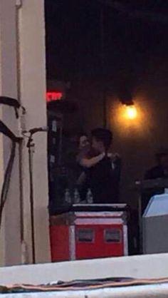Bea and Jacob hugging backstage