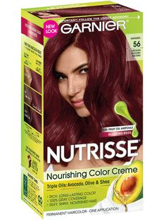 Achieve a silky, healthy, lasting medium red brown hair color with gray coverage with Nutrisse Nourishing Color Creme, a permanent hair color by Garnier. Reddish Brown Hair Color, Burgundy Hair, Hair Color Dark, Cool Hair Color, Brown Hair Colors, Best Box Hair Dye, Garnier Hair Color, Temporary Hair Color, Dyed Blonde Hair