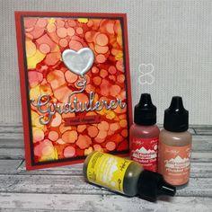 Scrappiness: Bursdagskort med yupo og alcohol ink bakgrunn