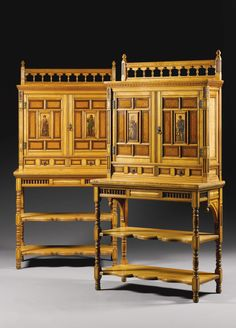 A pair of Victorian Aesthetic satinwood cabinets on stand<br>circa by Gillows, the design in the manner of Bruce James Talbert Victorian Furniture, Antique Furniture, Cabinet Furniture, Home Furniture, Furniture Styles, Furniture Design, Muebles Art Deco, Dining Room Hutch, Art Nouveau